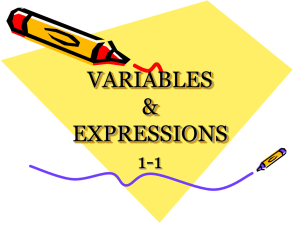 VARIABLES & EXPRESSIONS 1-1