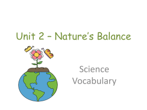 Unit 2 – Nature's Balance Science Vocabulary