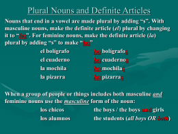 Plural Nouns and Definite Articles