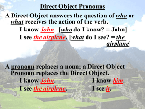 Direct Object Pronouns who I know I see