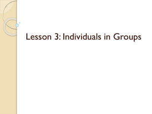Lesson 3: Individuals in Groups