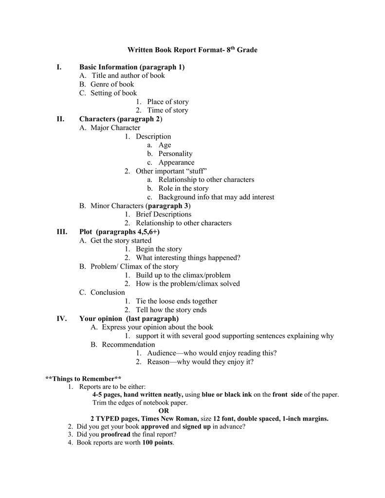 written book report format 8 grade i