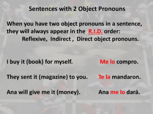 Sentences with 2 Object Pronouns
