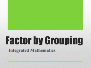 Factor by Grouping Integrated Mathematics
