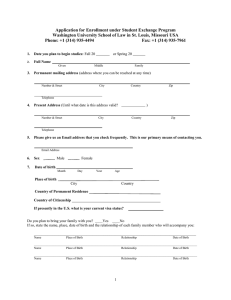 Application for Enrollment under Student Exchange Program
