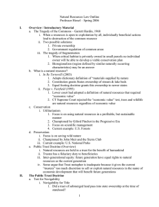 Natural Resources Law Outline Professor Hiesel – Spring 2006