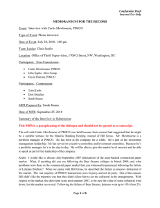 MEMORANDUM FOR THE RECORD Event:  Interview with Curtis Mewbourne, PIMCO