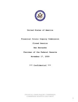 United States of America Financial Crisis Inquiry Commission Closed Session