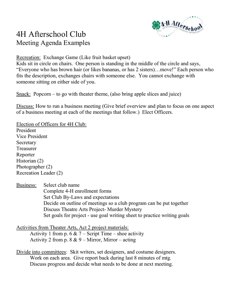 4H Afterschool Club Meeting Agenda Examples