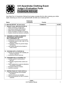 FASHION REVUE 4-H Awardrobe Clothing Event Judge's Evaluation Form