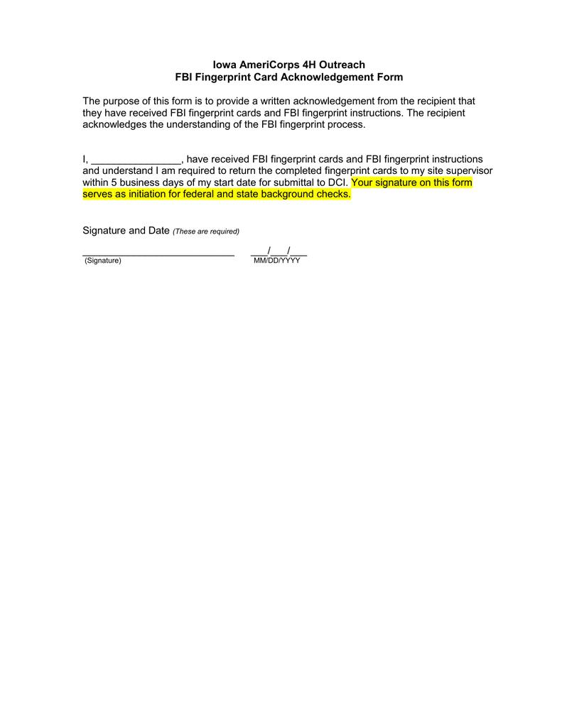 Iowa Americorps 4h Outreach Fbi Fingerprint Card Acknowledgement Form