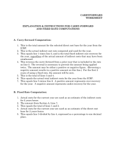 CARRYFORWARD WORKSHEET EXPLANATION & INSTRUCTIONS FOR CARRY-FORWARD AND FIXED RATE COMPUTATIONS