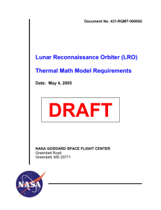 DRAFT Lunar Reconnaissance Orbiter (LRO)  Thermal Math Model Requirements