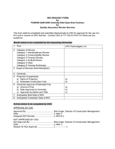 IWO REQUEST FORM for PASSHE-QAR-2005 Centrally-Held Open-End Contract