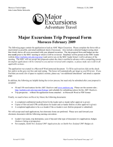 Major Excursions Trip Proposal Form Morocco February 2009 /