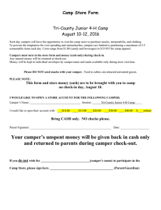 Camp Store Form  Tri-County Junior 4-H Camp August 10-12, 2016