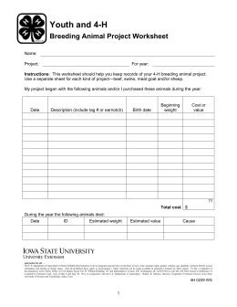 youth and 4 h breeding animal project worksheet. Black Bedroom Furniture Sets. Home Design Ideas