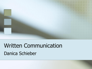 Written Communication Danica Schieber
