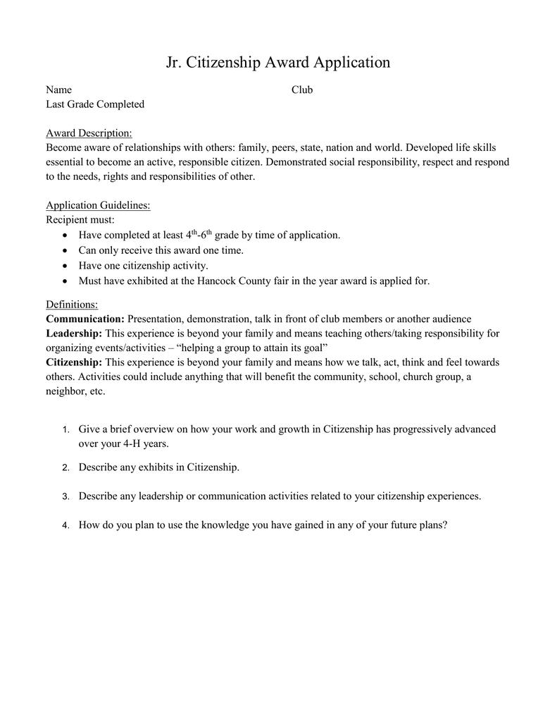 Jr Citizenship Award Application