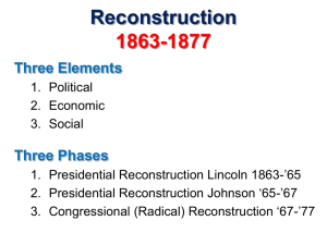 Reconstruction 1863-1877 Three Elements Three Phases