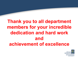 Thank you to all department members for your incredible and