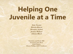Helping One Juvenile at a Time Erin Turner Brenda Krizan
