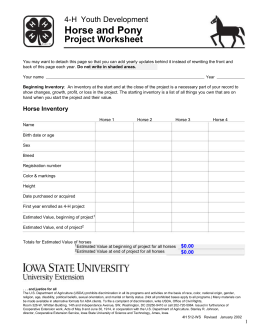 Horse and Pony Project Worksheet 4-H  Youth Development