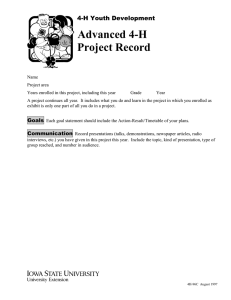 Advanced 4-H Project Record  4-H Youth Development