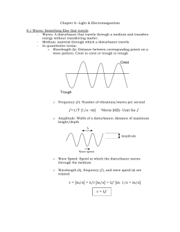 Chapter 8--Light & Electromagnetism  8.1 Waves: Something Else that travels