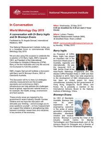 In Conversation World Metrology Day 2015 A conversation with Dr Barry Inglis