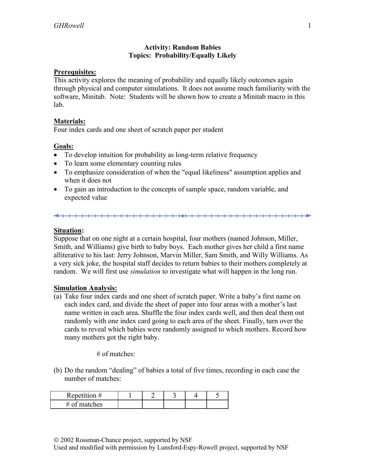 GHRowell This activity explores the meaning of probability and ...