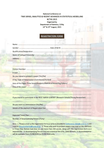 REGISTRATION FORM TIME SERIES, ANALYTICS & RECENT ADVANCES IN STATISTICAL MODELLING