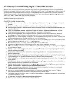 Greene County Extension Mentoring Program Coordinator Job Description