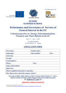 Performance and Governance of  Services of EUSERS SUMMER SCHOOL