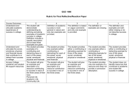 GGC 1000 Rubric for Final Reflective/Reaction Paper