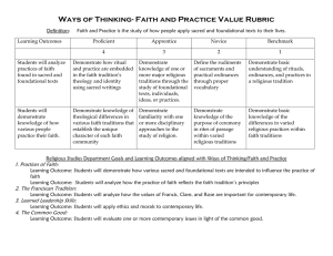 Ways of Thinking- Faith and Practice Value Rubric