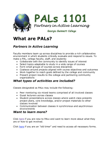 What are PALs? Partners in Active Learning