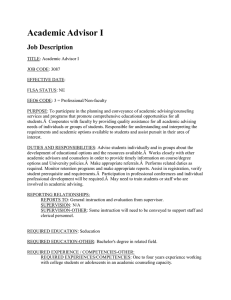 Academic Advisor I Job Description