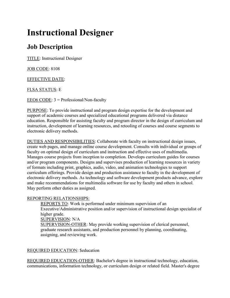 Instructional Designer Job Description