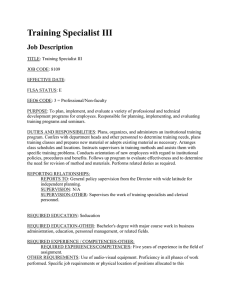 Training Specialist III Job Description