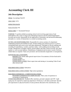 Accounting Clerk III Job Description