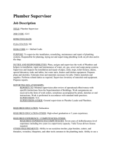 Plumber Supervisor Job Description