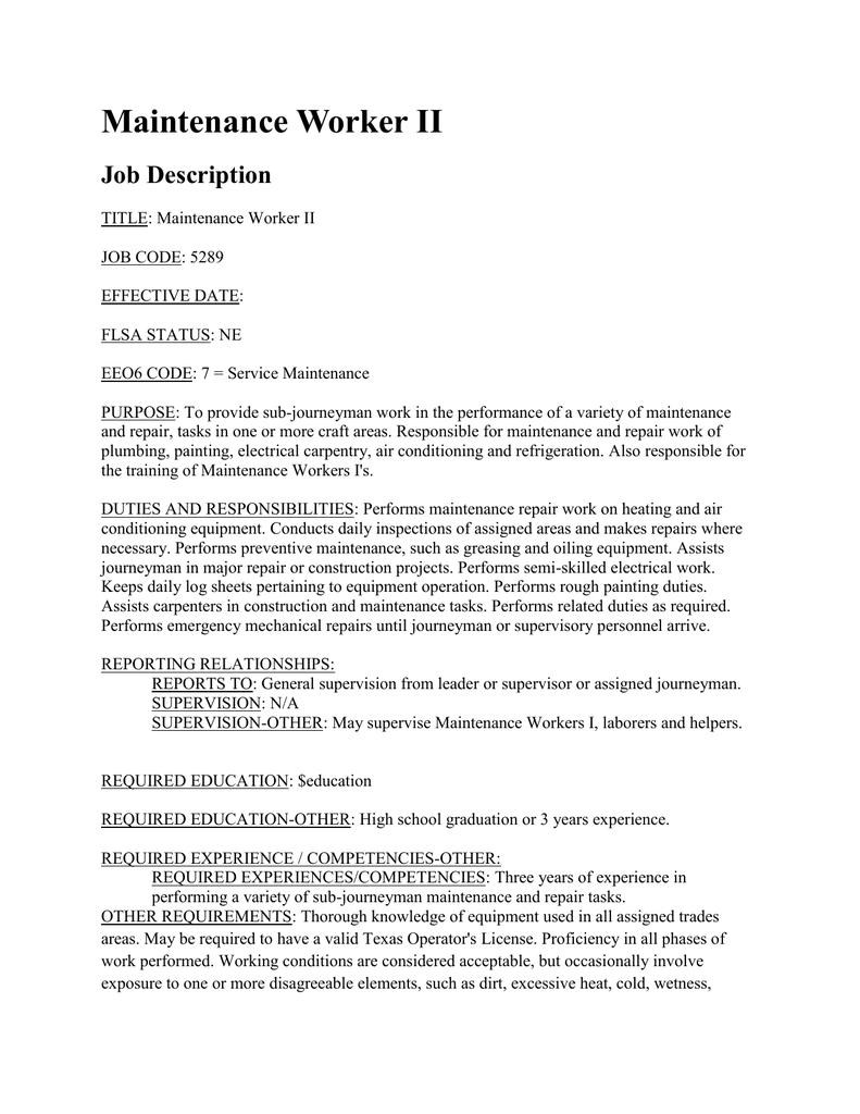 Maintenance Worker II Job Description