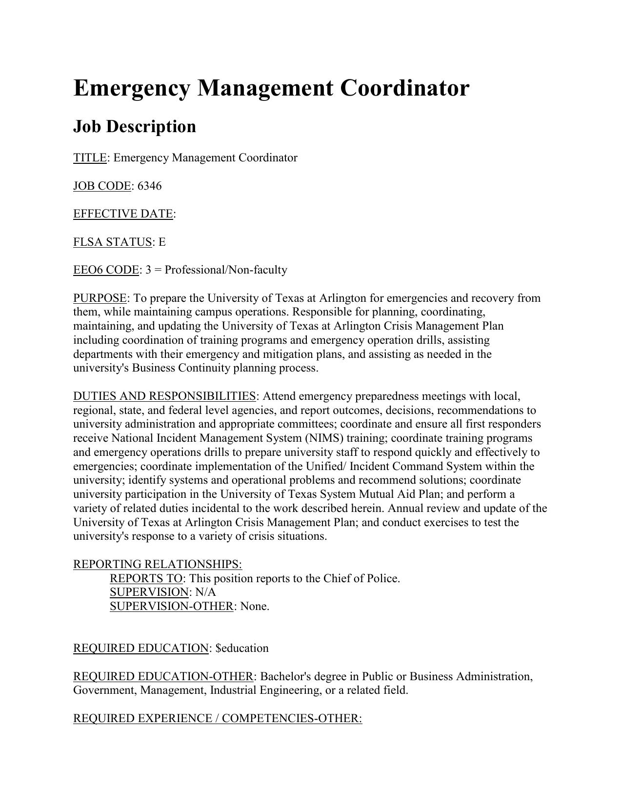 emergency management coordinator job description - Job Description Of Business Administration