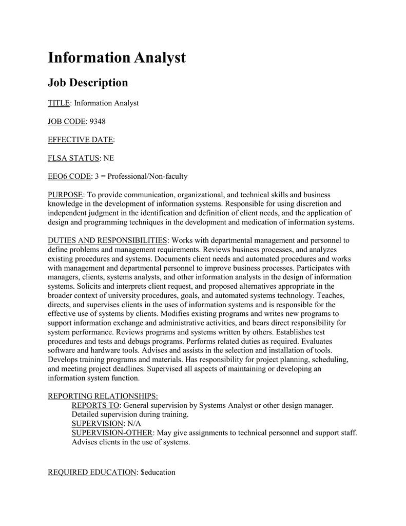 programmer analyst job description