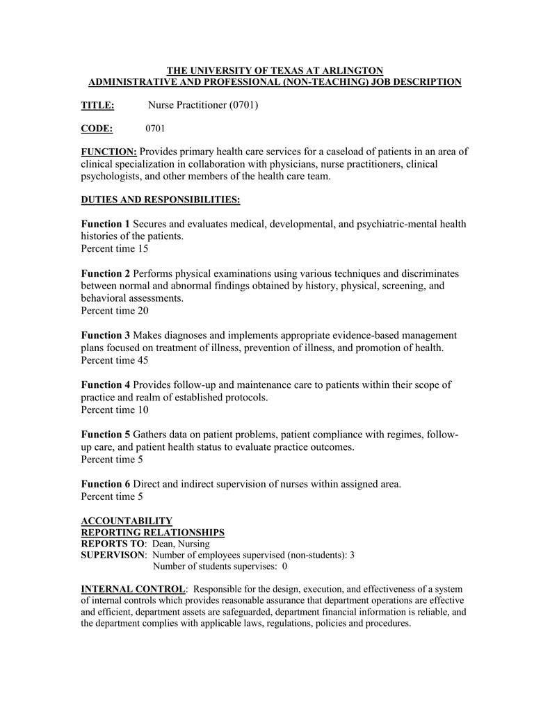 Nurse Practitioner (0701)