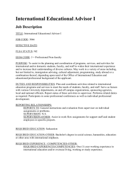 International Educational Advisor I Job Description