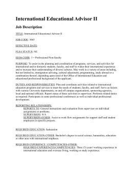International Educational Advisor II Job Description
