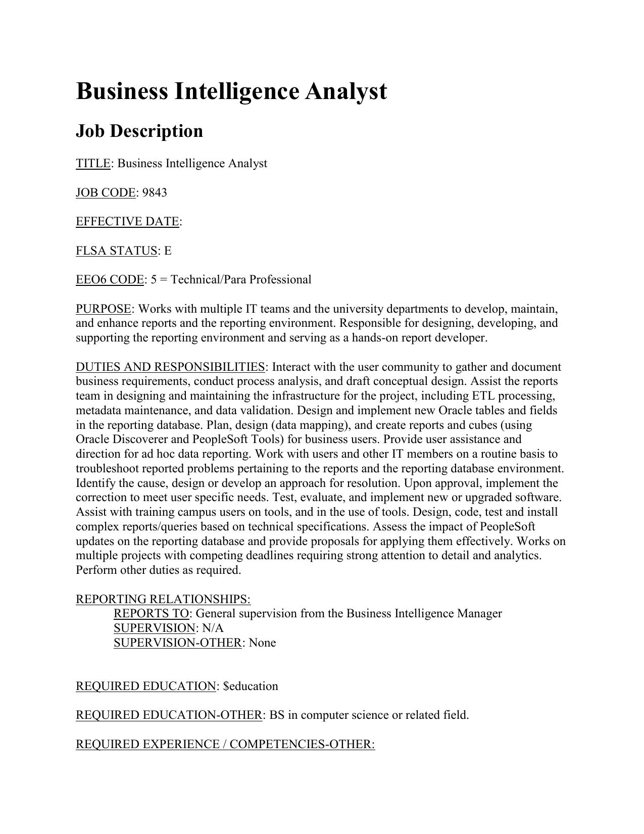 reporting analyst job description