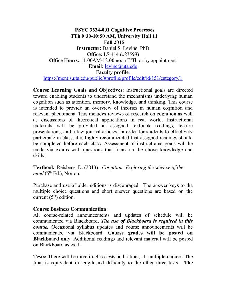 PSYC 3334-001 Cognitive Processes TTh 9:30-10:50 AM